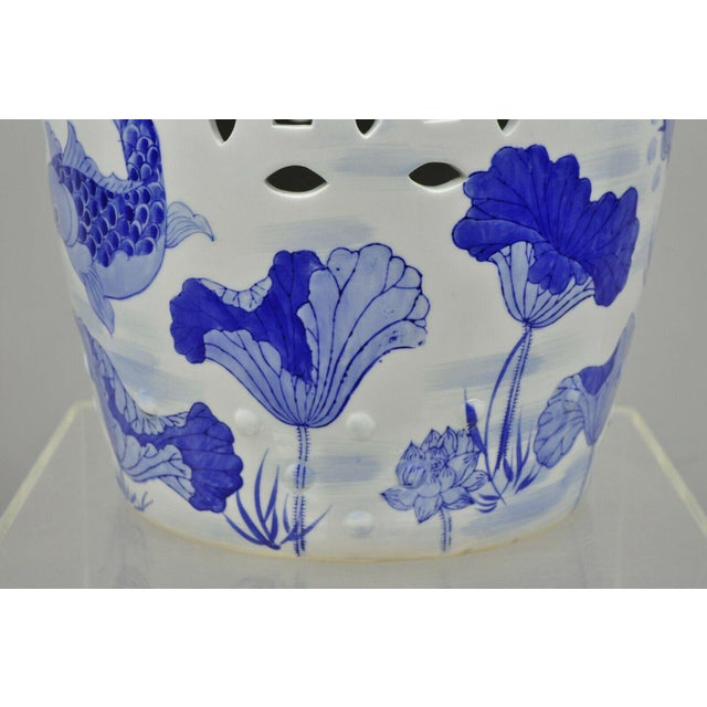 White Blue & White Koi Fish Porcelain Chinese Garden Stool For Sale - Image 8 of 12