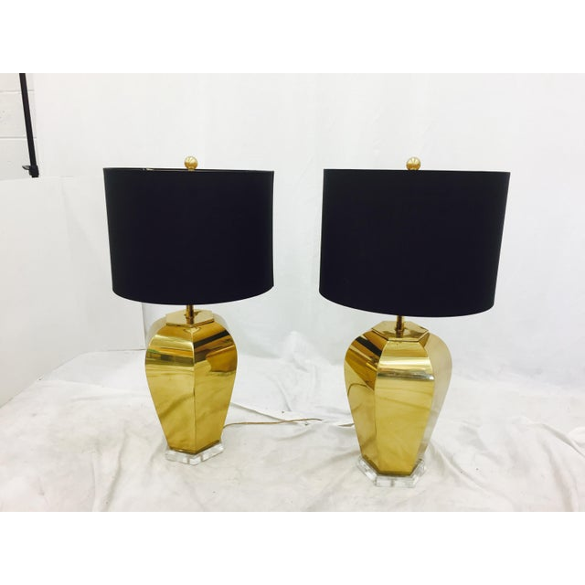 Vintage Brass & Lucite Base Lamps - Image 4 of 10