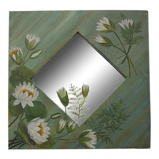 Victorian Era Handpainted Lily Pad Mirror For Sale