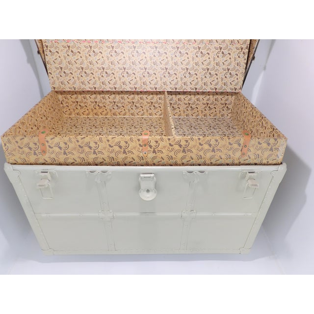 1800's Antique Steamer Trunk Storage Coffee Table Monochromatic Beige For Sale - Image 9 of 11