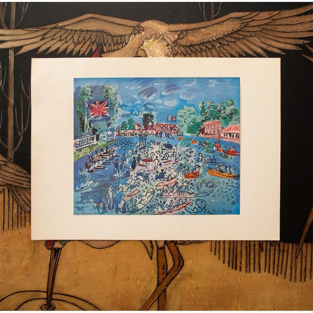 """1940s 1940s Raoul Dufy, Original Period """"Regatta at Cow-On-Thames"""" Lithograph From Geneva For Sale - Image 5 of 8"""