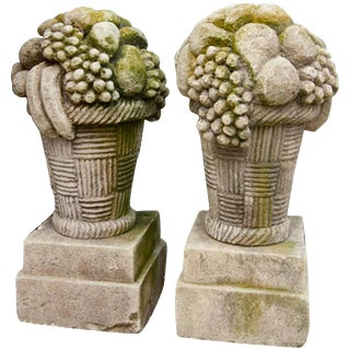 Early 20th Century French Limestone Fruit Finial Baskets - a Pair For Sale