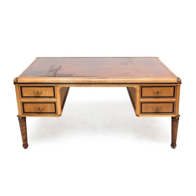 Awesome desk by Maison Franck in very good condition ¬ some wear on the leather top stunning turned legs with acanthus...