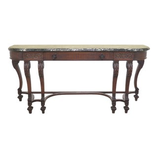 1920s Vintage Marble Top Continental Style Walnut Sideboard For Sale