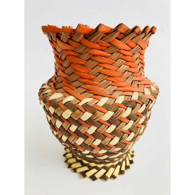 Boho Chic Vintage Woven Basket Vase - Red, Brown, and Tan For Sale - Image 3 of 4