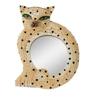 Hand Carved and Painted Cat Mirror For Sale