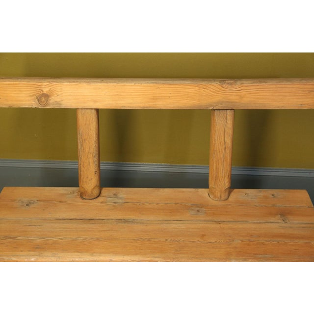Metal Chunky Oak Rustic Bench For Sale - Image 7 of 10