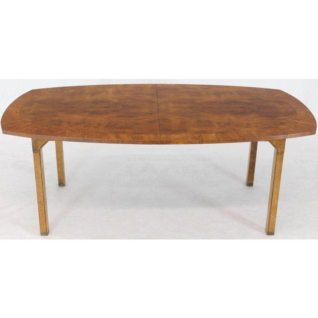 Oval Boat Shape Banded Burl Wood Dining Table With 2 Leaves Extensions For Sale In New York - Image 6 of 12