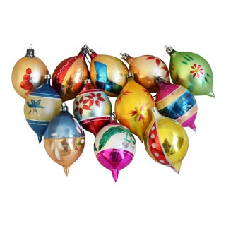 Fancy Vintage Colorful Christmas Ornaments W/Box - Set of 12 For Sale