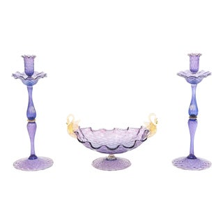 Three-Piece Set Amethyst & Gold Figural Swan Venetian Candlesticks & Centrepiece For Sale