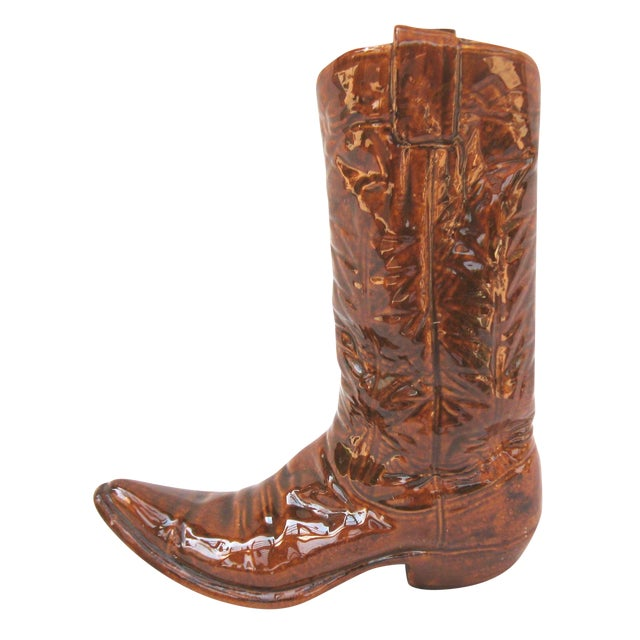 Vintage Ceramic Cowboy Boot Vase - Image 1 of 8
