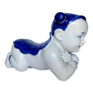 Vintage Chinese Hand Painted Blue & White Porcelain Male Opium Pillow Head Rest For Sale