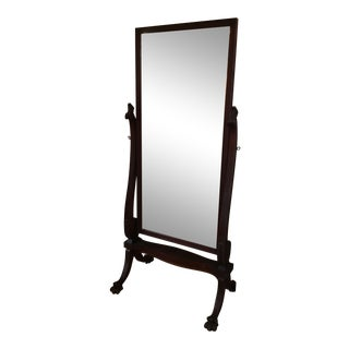 Mahogany Victorian Style Claw Foot Cheval Mirror For Sale