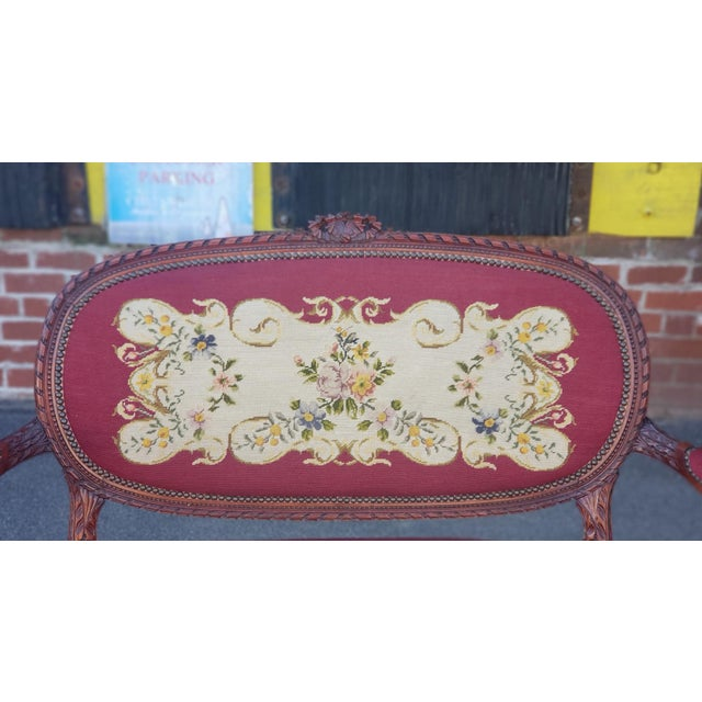 1950s French Louis XV Style Needlepoint Living Room Settee For Sale - Image 9 of 10