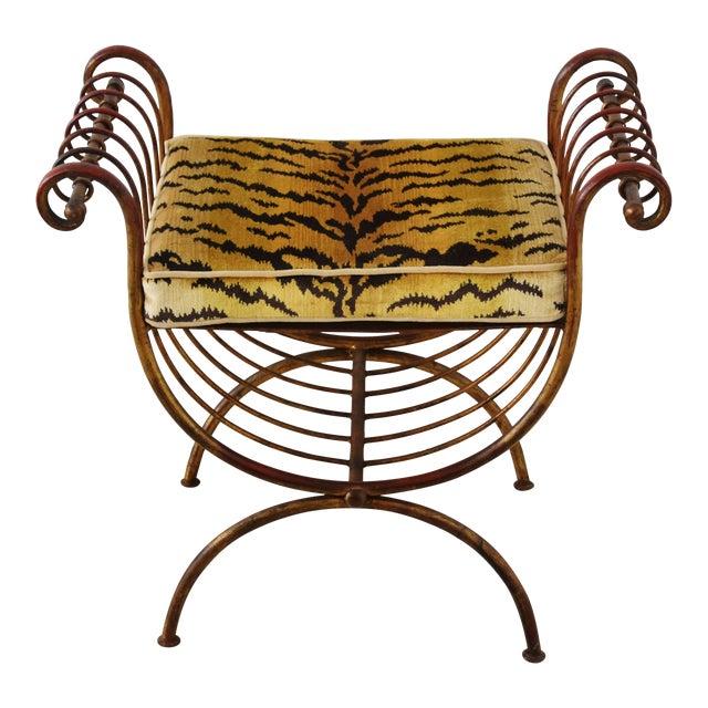 Scalamandre Velvet Tiger Hollywood Glam Italian Gilt Vanity Bench For Sale