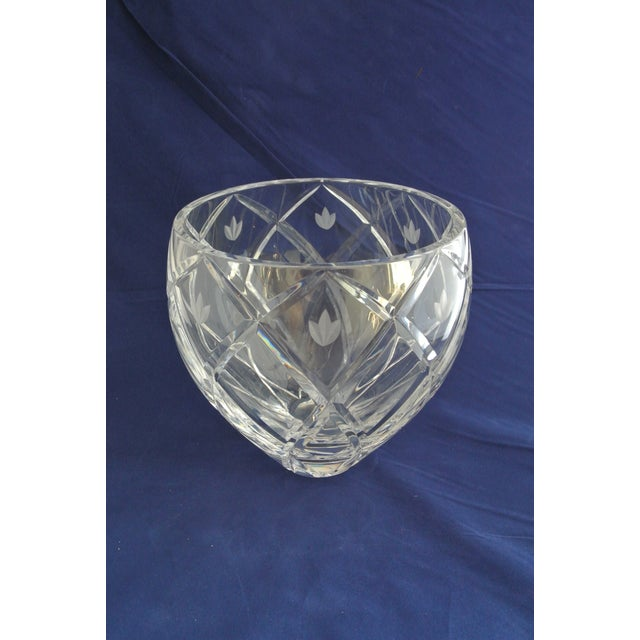 Crystal Vintage Heavy Cut Crystal Decorative Bowl For Sale - Image 7 of 9