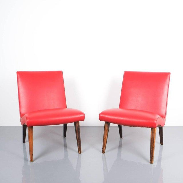Pair of 1950s Jens Risom Red Vinyl Faux Leather Chairs For Sale - Image 6 of 7