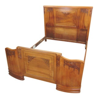 French Art Deco Carved Walnut Full Size Bed For Sale