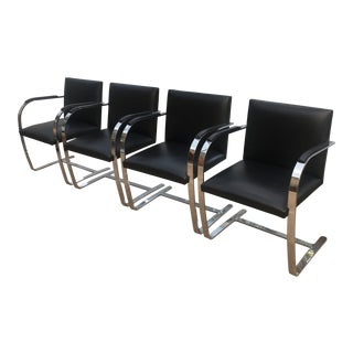 Ludwig Mies Van Der Rohe by Knoll Brno Black Leather Flat Bar Chairs - Set of 4