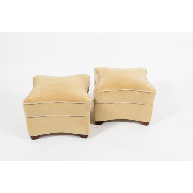 White 1930s Jules LeLeu Upholstered Ottomans - a Pair For Sale - Image 8 of 8