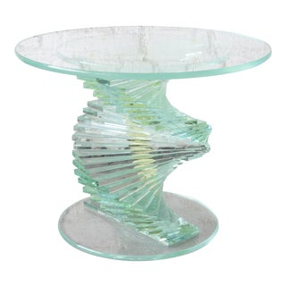 Vintage Helix Spiral Stacked Lucite and Glass Occasional Table, Circa 1970s