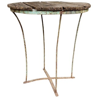 1920s Distressed Wood & Metal Garden Table