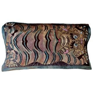 Tiger Carpet Italian Silk Velvet Pillow For Sale