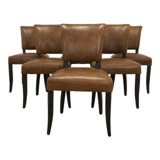 Set of 6 Saddle Leather Dining Chairs