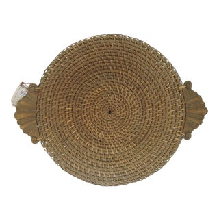 Vintage Hapao Rattan Circular Saucer Storage Basket With Hand Carved Wood Handles For Sale