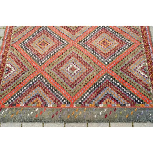 "Orange Vintage Anatolia Turkish Hand Woven Cotton Rug - 5'5"" X 9'2"" For Sale - Image 8 of 10"