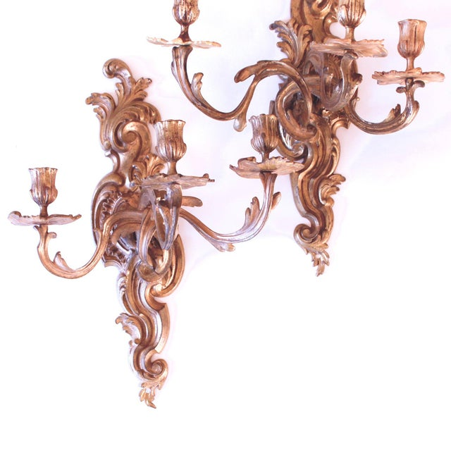 Rococo Late 19th Century Fine French Rococo Gilt Bronze Three Light Sconces - a Pair For Sale - Image 3 of 11