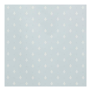 Schumacher Fleur De Lis Wallpaper in Mineral For Sale