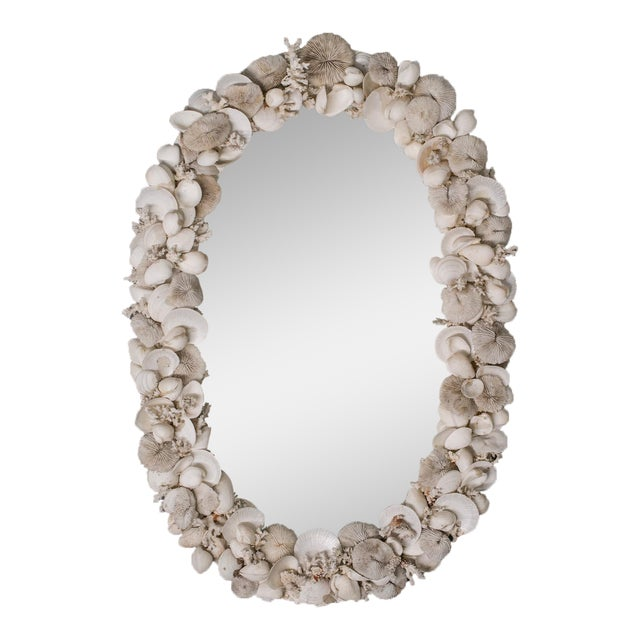 Vintage French Shell Encrusted Oval Mirror circa 1950 For Sale