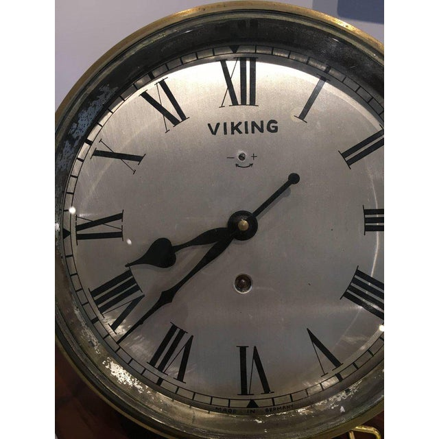 Metal Brass Ship's Clock by Viking, Circa 1960s For Sale - Image 7 of 8