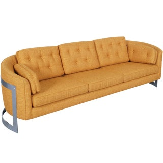 Vintage Floating Chrome Sofa by Milo Baughman For Sale