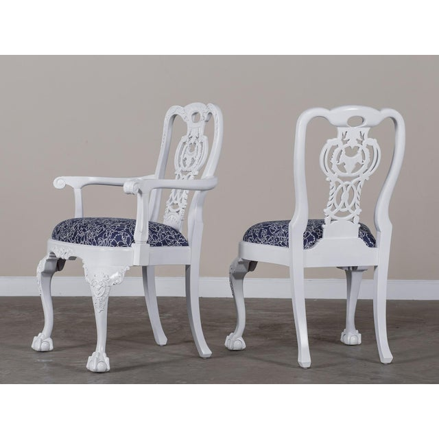 White George III Chippendale Style Painted Dining Chairs - Set of 8 For Sale - Image 8 of 10