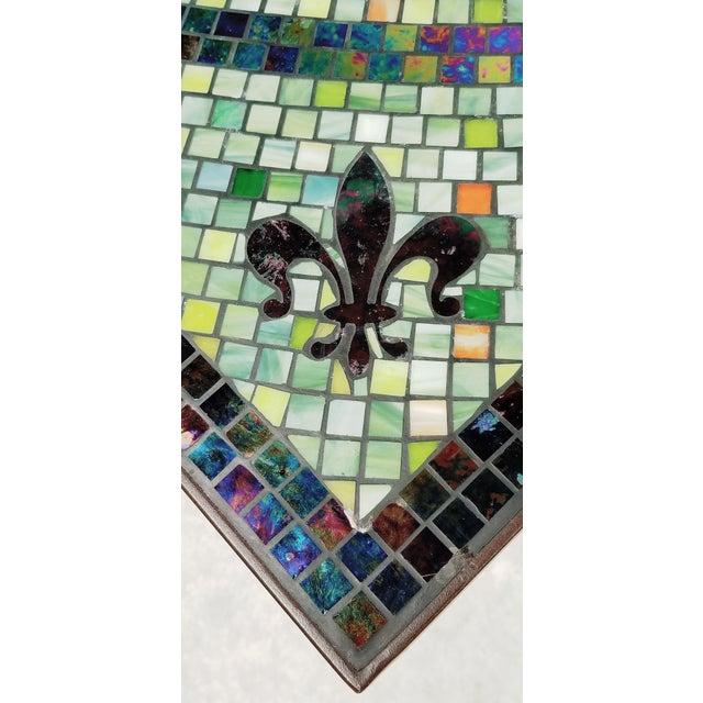 Metal Boho Chic Mosaic Fleur-De-Lis Sunburst Tile Top Table For Sale - Image 7 of 13