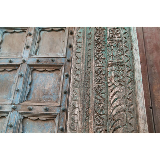 Paint Great Imposing Krishna Painted Indian Door For Sale - Image 7 of 8