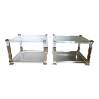 Mid Century Modern French a Pair Square End Tables Glass Brass Lucite Cube Tables For Sale
