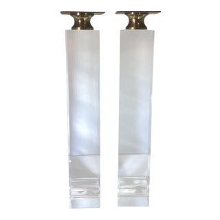 Late 20th Century Vintage Springer Style Lucite and Brass Column Candle Holders - A Pair For Sale