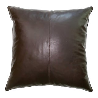 "Williams Sonoma Large Leather Brown Pillow 26 X 26"" Squared For Sale"