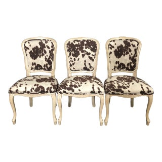 Louis XV Style Bleached Wood Chairs With Faux Hide Upholstery -Set of 3 For Sale