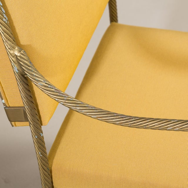 Mid-Century Modern A Set of Three Heavy Simulated Rope Metal Chairs 1960s For Sale - Image 3 of 5