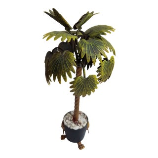 Hand Painted Tole Palm Tree in a Neoclassical Pot with Lion Feet