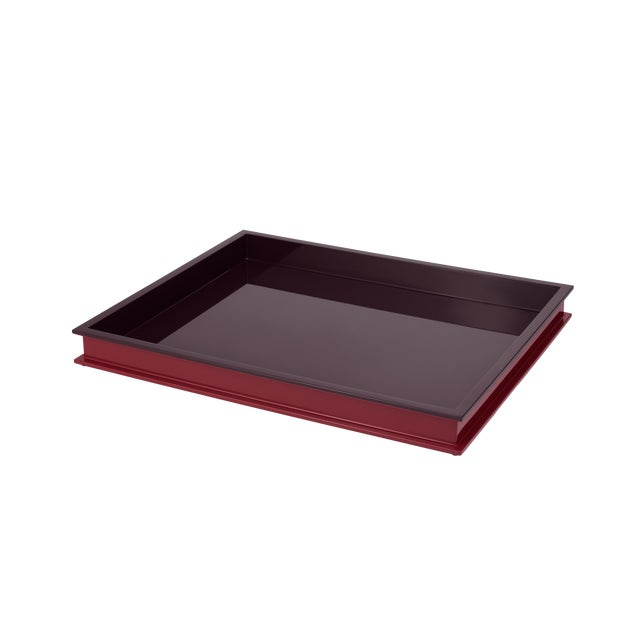 Jeffrey Bilhuber Collection Large Rectangular Tray in Eggplant / Chinaberry Crimson For Sale