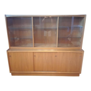Teak Lighted China Cabinet
