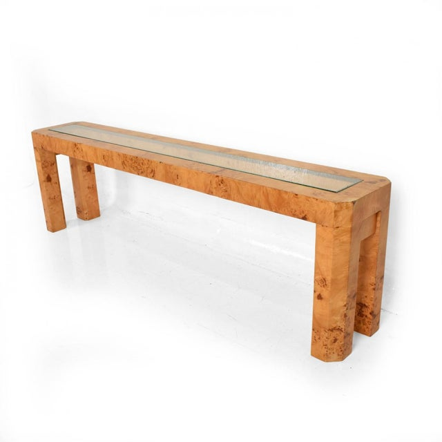 XL Mid Century Modern French Custom Ash Burlwood Console Table For Sale - Image 9 of 9