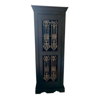 Mediterranean Style Tall Wine Cabinet For Sale