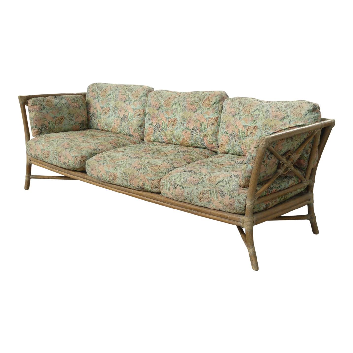 Vintage Mid Century Modern McGuire Bamboo Sofa Settee