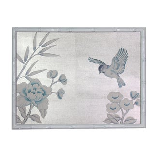 1970s Vintage Framed Chinoiserie Silver-Leaf-Over-Silk Painting For Sale